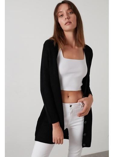 Lela Lela 4615044% 100 Soft Akrilik Triko Örme Uzun Hırka Siyah